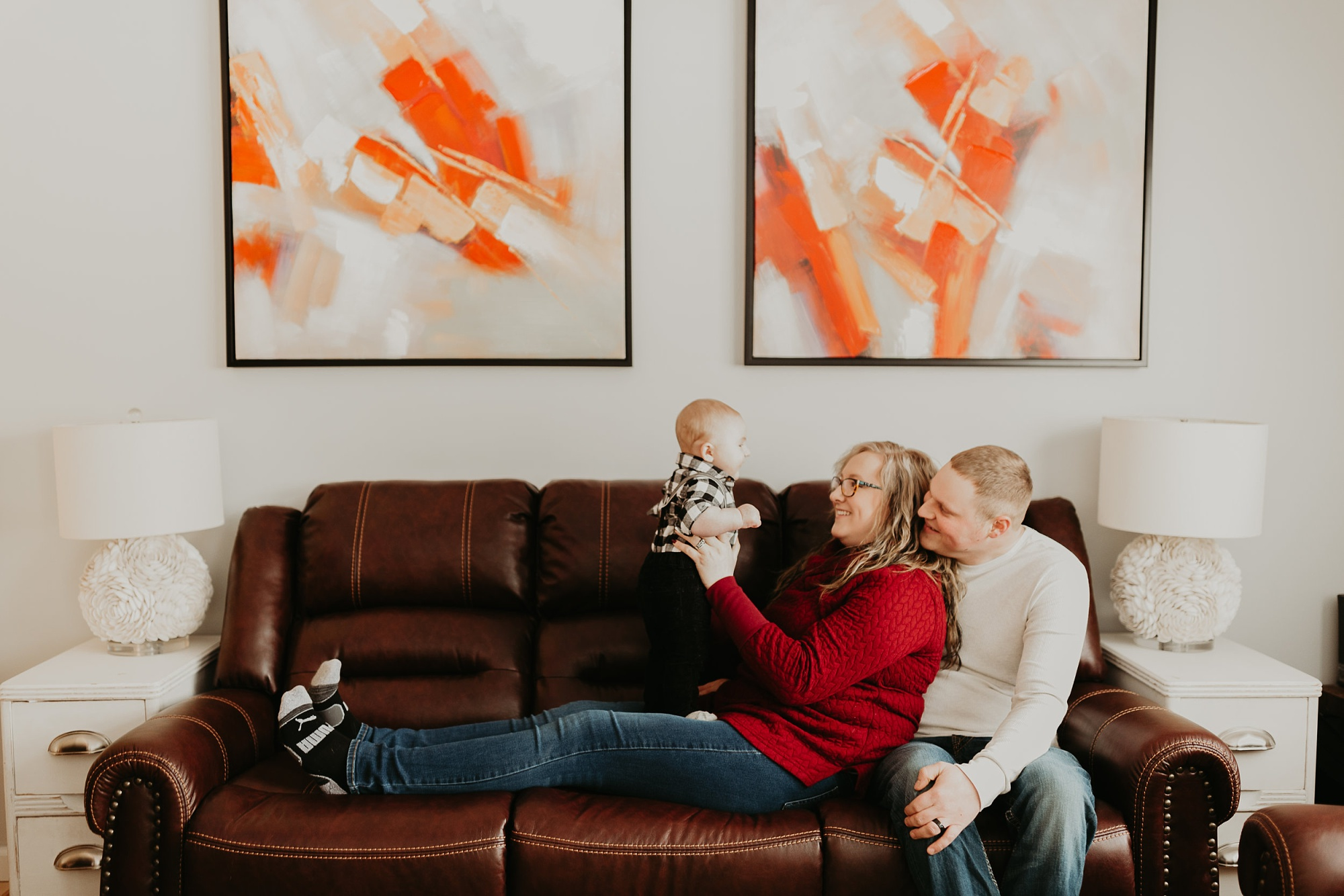 Petoskey family and baby photography sessions at home
