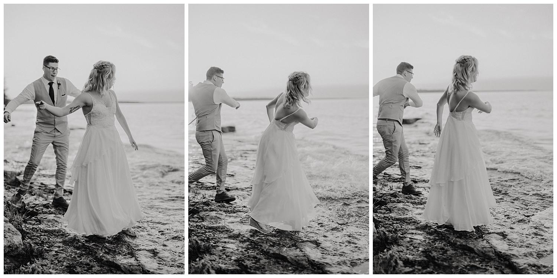 Skipping stones wedding couple michigan