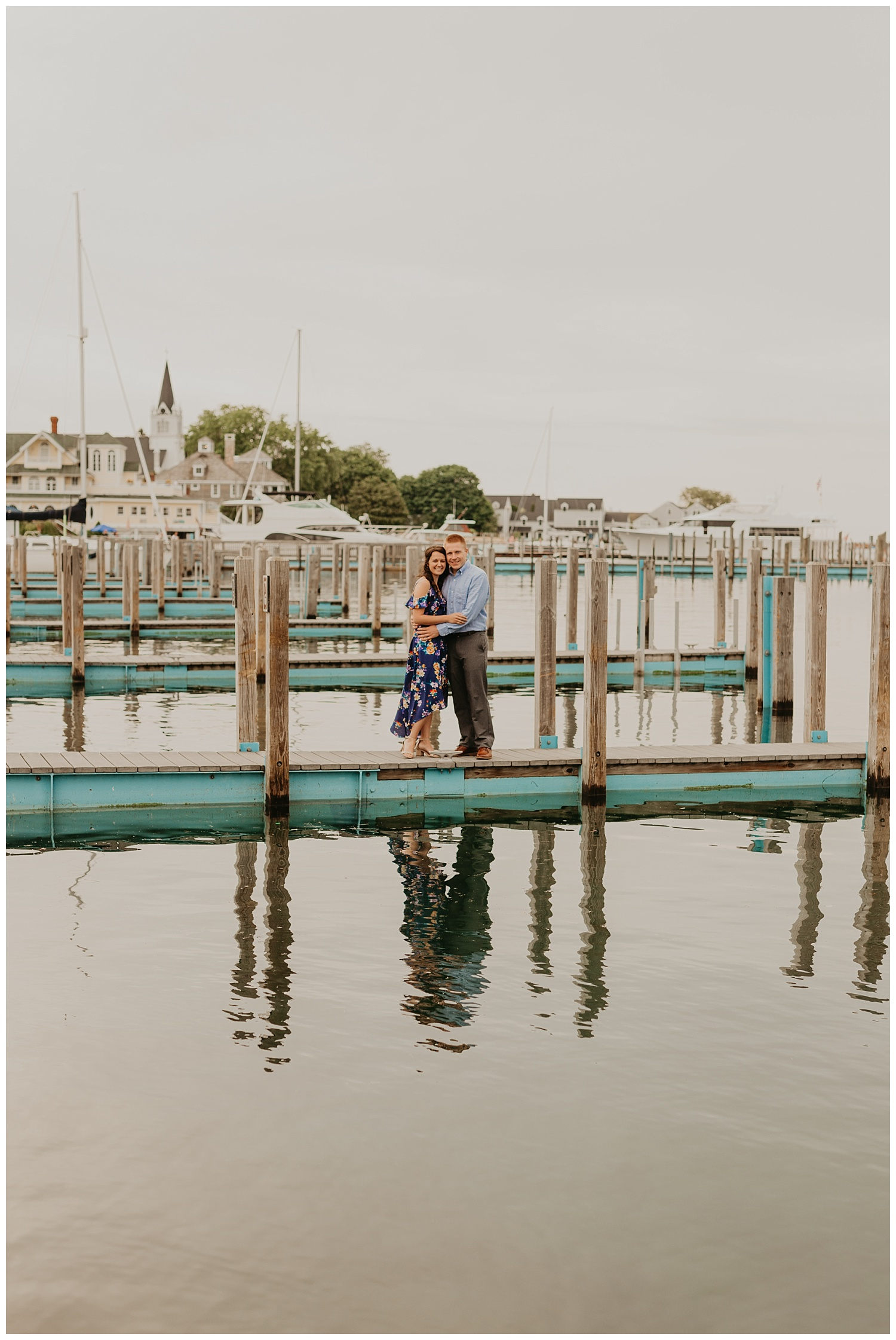 Boat dock michigan engagement session