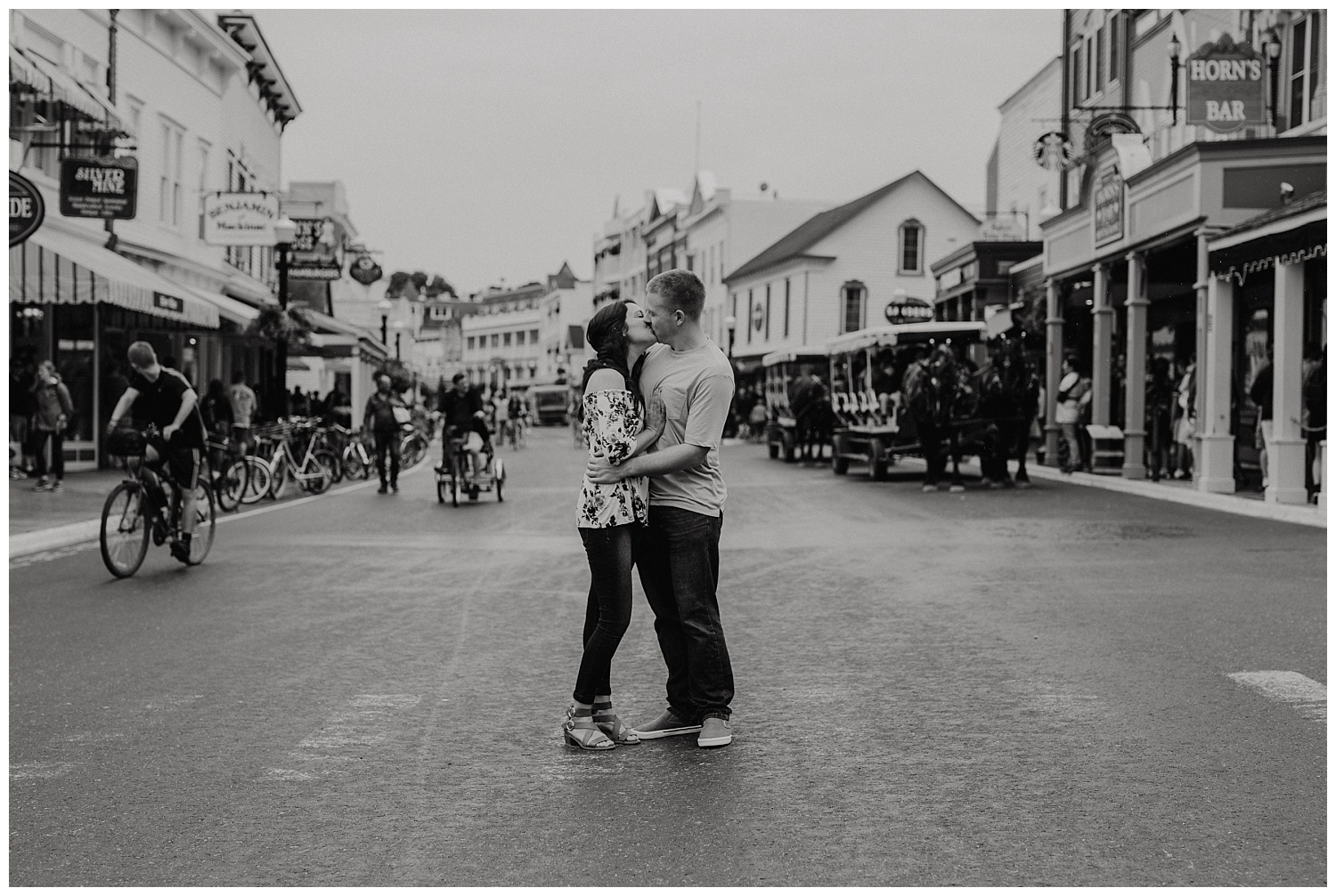 Downtown Mackinac island engagement session