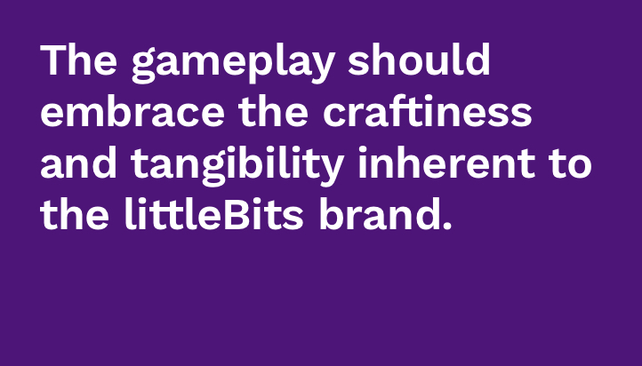 - Littlebits are about enabling new experiences and one-of-a-kind creations. The gameplay of the kit should not mimic an existing product such as a gameboy. It should give kids the tools to create new games that play out in-between the real world and what's on the screen.