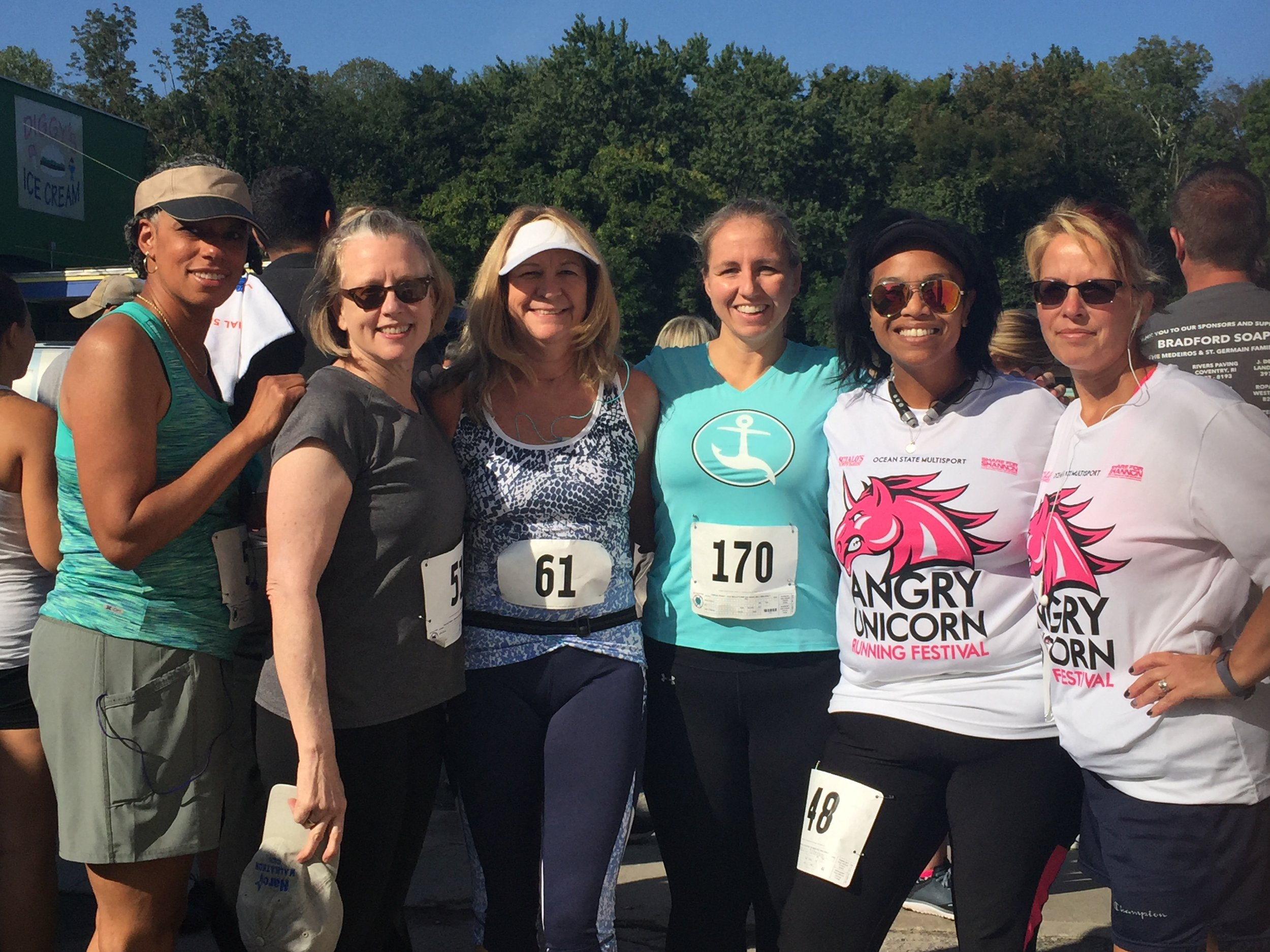Labor Day 5k in W.Warwick, RI. with a bunch of my running buddies (right to left) Heather, Mary, Nancy, Victoria & Wanda. September 2017