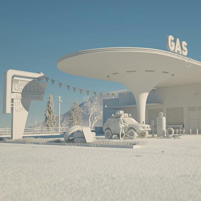 Gas Station update. Next step, textures. #3d #3drender #3dart #instart #3dmodel #cgi #c4d #gasstation #vw #vwbrasilia #personalproject