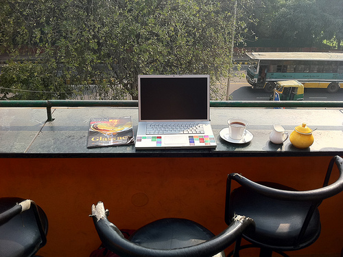 In more ways than one Walter Mason encourages writers to get outside. Thanks to toastkid for use of this image Where I work: turtle cafe, new dehli under Creative Commons.