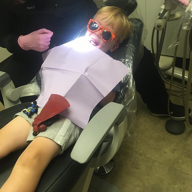 I heard that Lou crushed his first dentist appointment (maybe the super heros helped?). Ingrid had a surprise tooth removal (😬) and was a champ. Smile on, little Atkinsons!