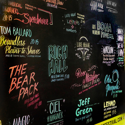Melbourne Comedy Festival    Chalkboard Illustration & Typography, 2016.