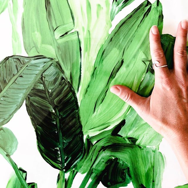 MORE PALMS | because I love palms, always. . This piece landing in store @whitepepper today. . I designed this one in repeat so it can actually be printed up into wallpaper, for all the palm lovers. . Artwork by me @shyanneclarke  Wave ring @spindriftcollections