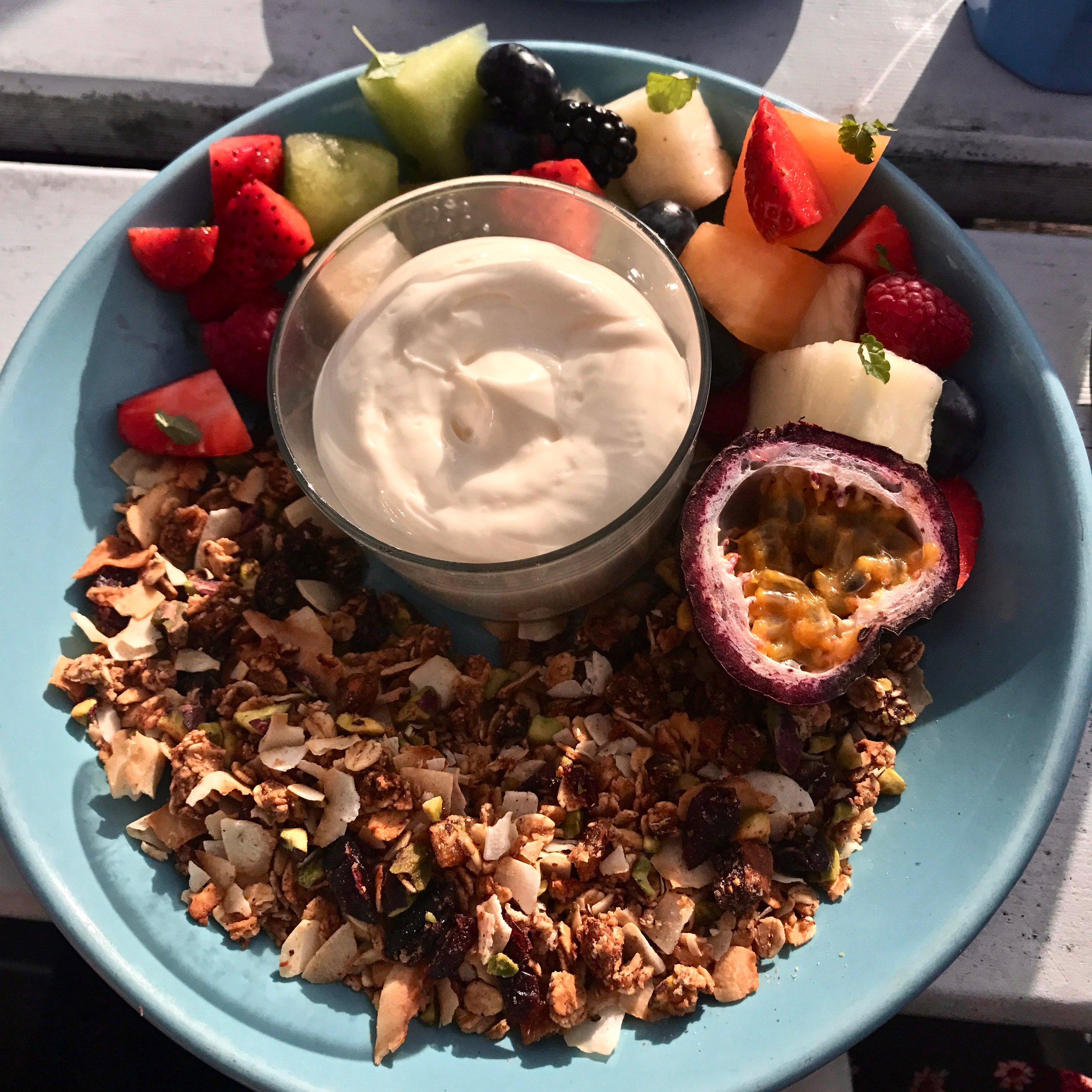 Whale Beach Muesli with Fresh Fruit and Yoghurt