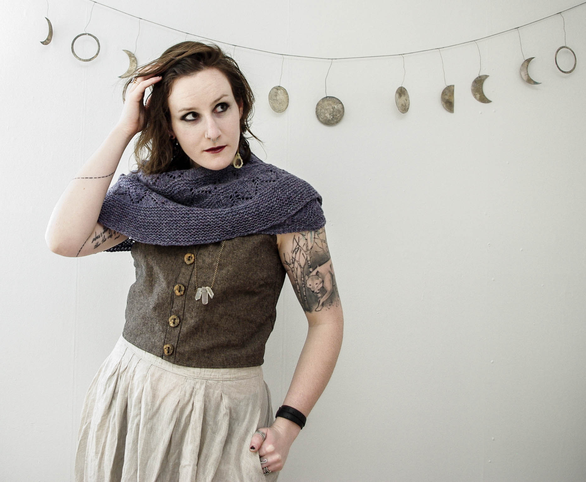 sneak peek from a photo shoot for a new design created especially for  circle of stitches .  harrisville designs flywheel yarn ,  zinnia skirt , and hacked  hinterland dress -turned-crop top with a gorgeous linen and spalted maple buttons.