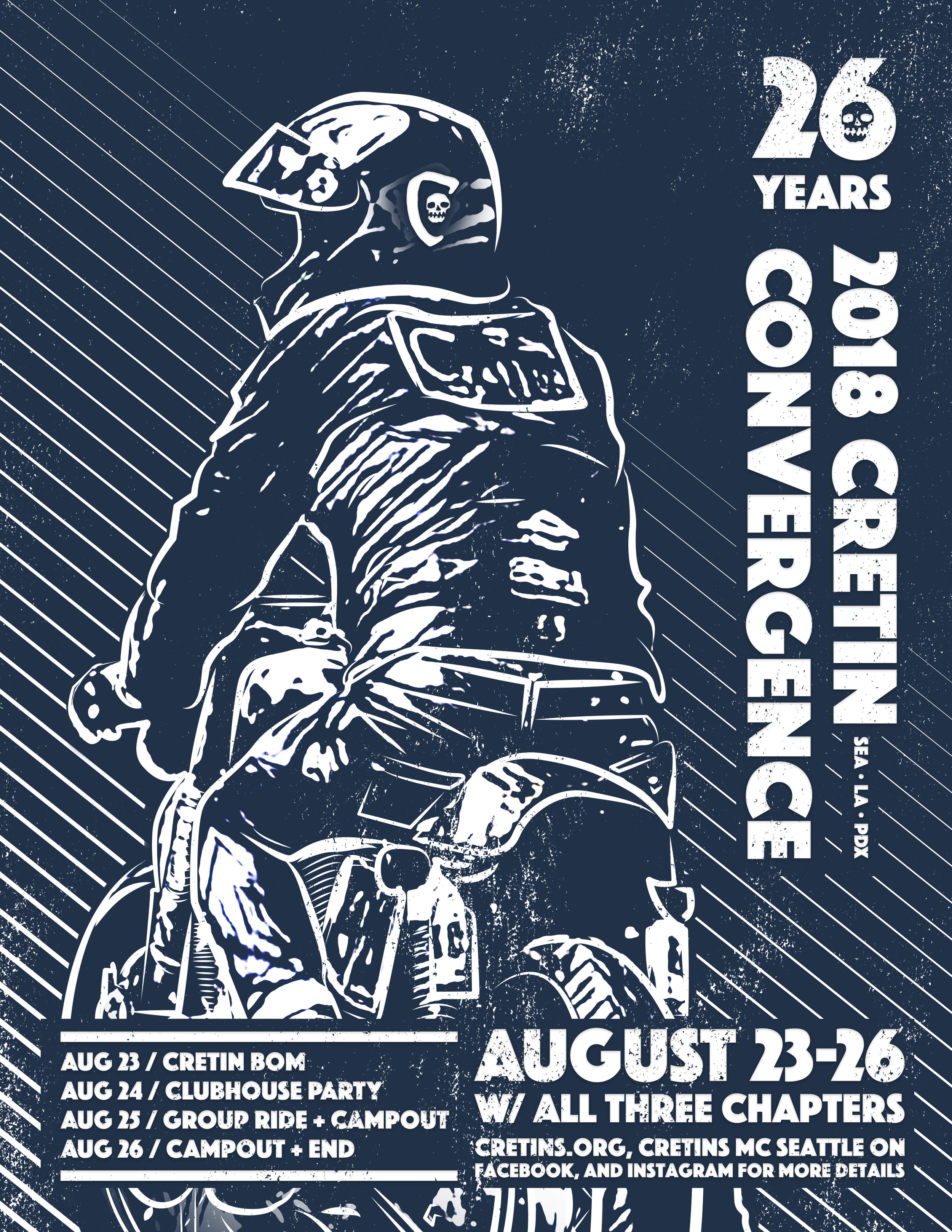 Upcoming Events - 2018 CRETINS CONVERGENCETHURS-SUN, AUG 23-26AUG 23: CRETIN BOM WITH ALL THREE CHAPTERSAUG 24: CLUBHOUSE PARTYAUG 25: GROUP RIDE THROUGH THE ISLANDSAUG 26: GROUP RIDES AND GO HOMEALL WELCOME TO JOIN IN WITH MEMBERS FROM ALL THREE CHAPTERS AT ANY OF THE EVENTS. MORE DETAILS AVAILABLE VIA FACEBOOK AND INSTAGRAM. fLYING FIFTEEN mc FELONY FLAT TRACKING BBQ/MINIBIKES/BANDSSAT, SEP 8 NOON72ND AND FIReVENT DETAILS HERE