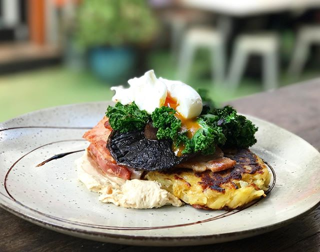 Have you tried our Rosti stack yet? House potato rosti, field mushroom, bacon, poached egg and caramelised onion cream 😍