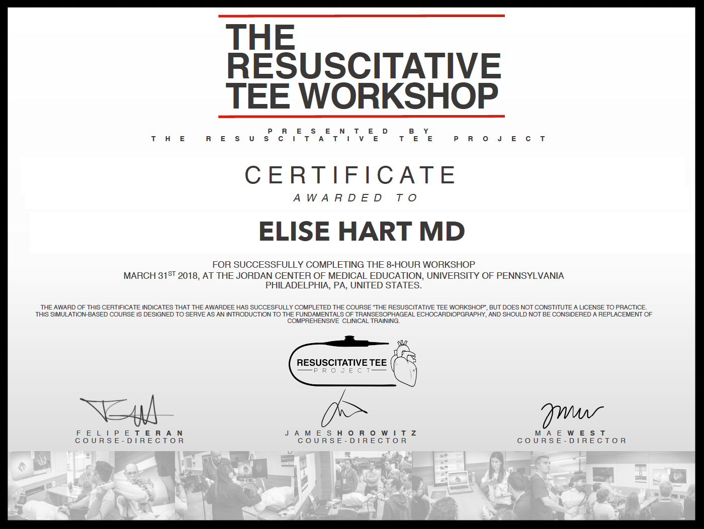 sample of Certificate awarded to participants that successfully complete the workshop