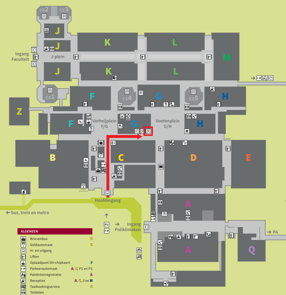 Map AMC from entrance to Vrijzaal.png