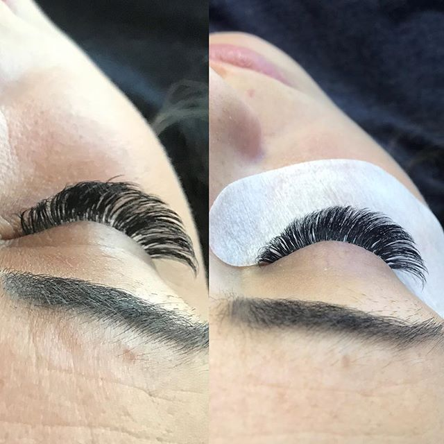 Before and after 3 week fill 🖤 #volumelashes #lashextensions #happy #prettygirl