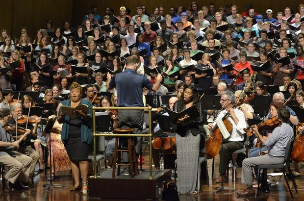 Maestro Terrell rehearses with the combined regional college choirs to prepare for Mahler's Symphony No. 2. Photo by Rich Copley, Lexington Herald-Leader.