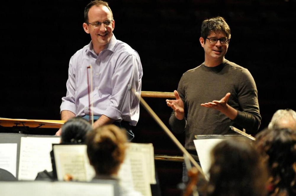 """2013-14 Saykaly Garbulinksa Composer-in-Residence Adam Schoenberg at orchestra rehearsal in advance of the world premiere of his work, """"Canto."""" Photo by Rich Copley, Lexington Herald-Leader."""
