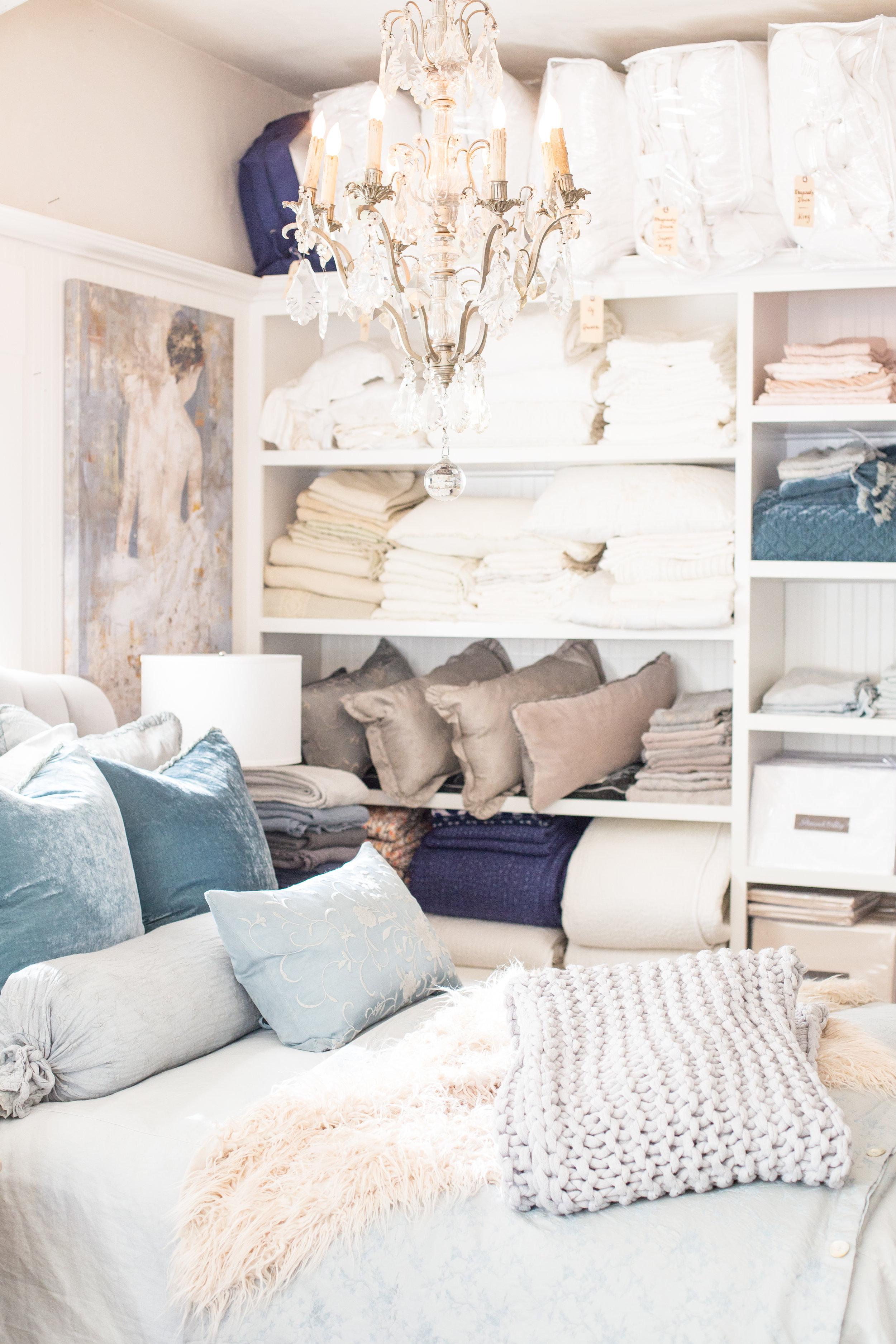 Luxury bedding display
