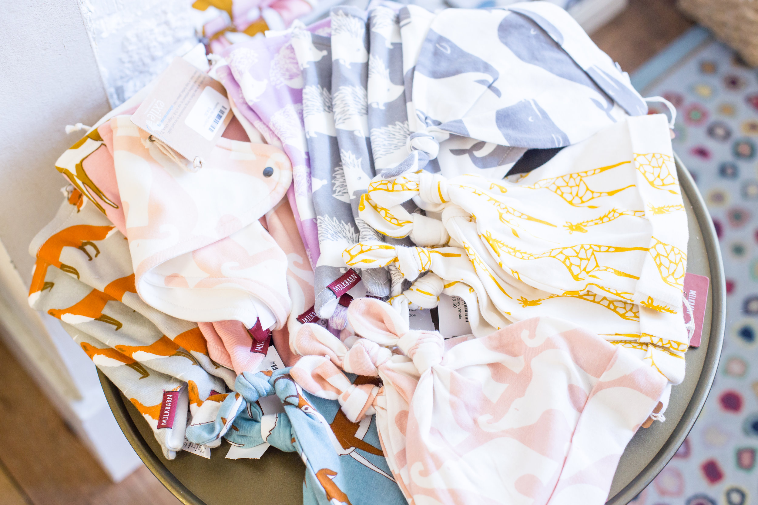 Baby gifts, bibs, colorful patterns