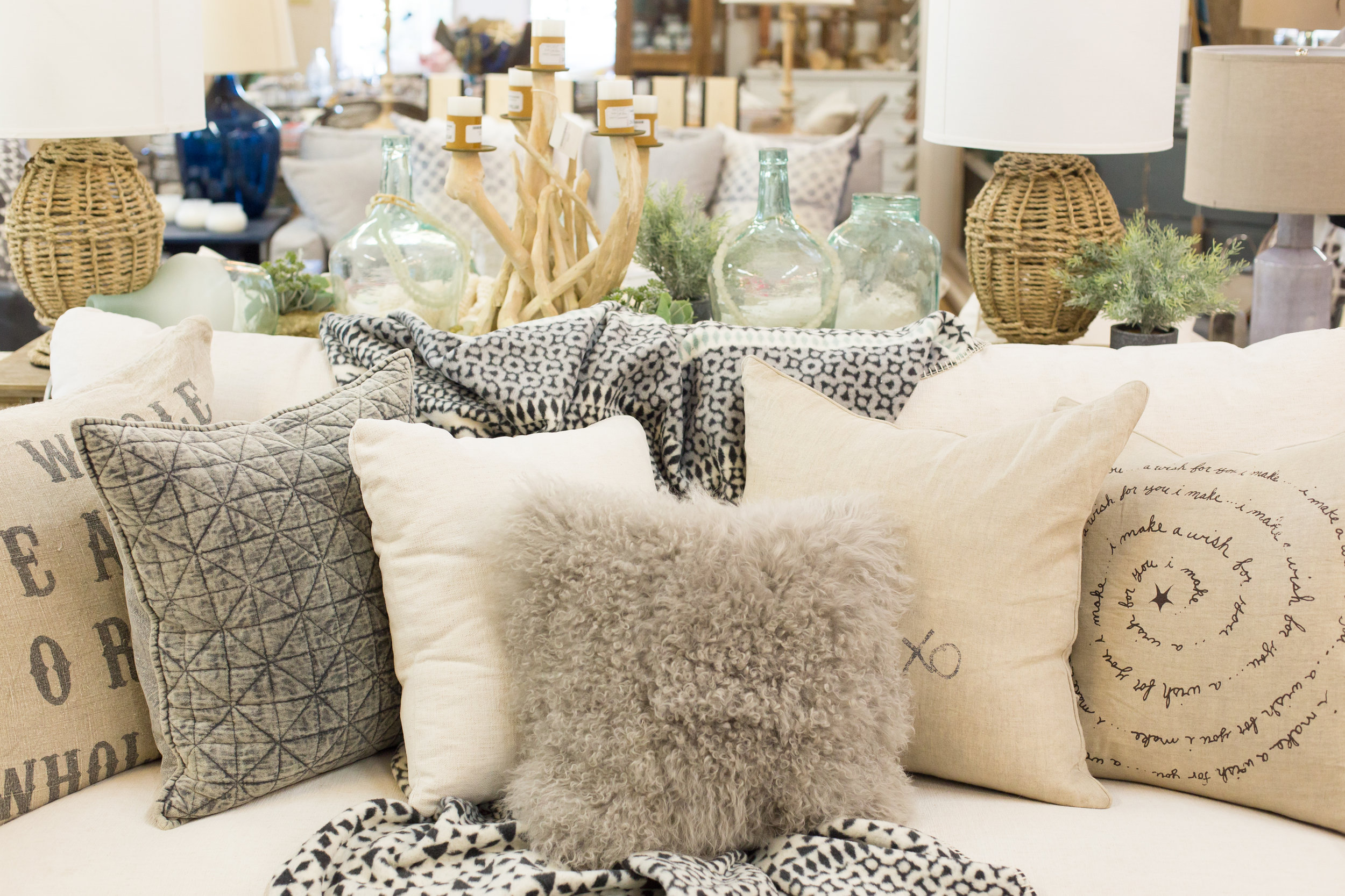Boutique sofa, stylish pillows