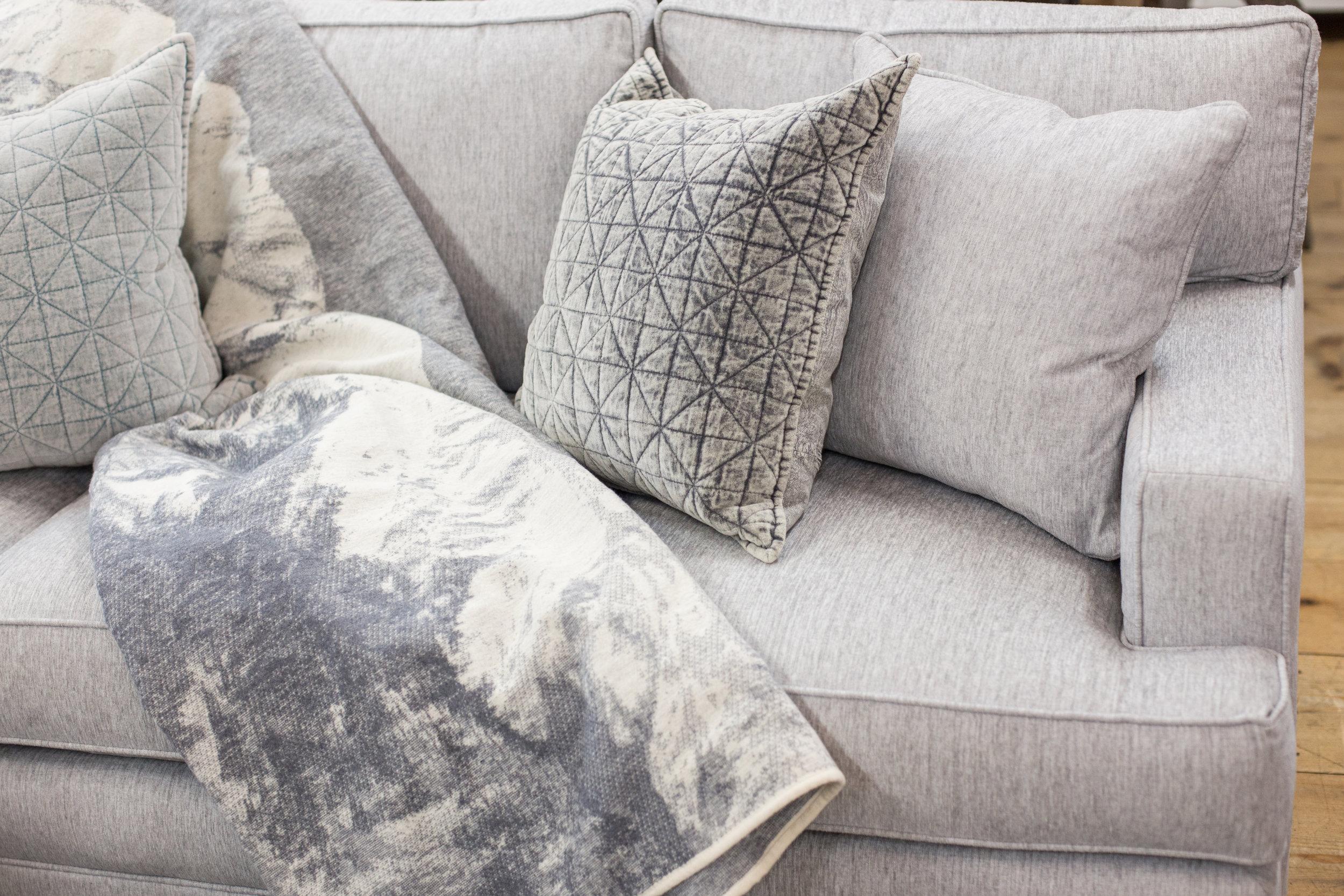 Luxury sofa, velvet throw