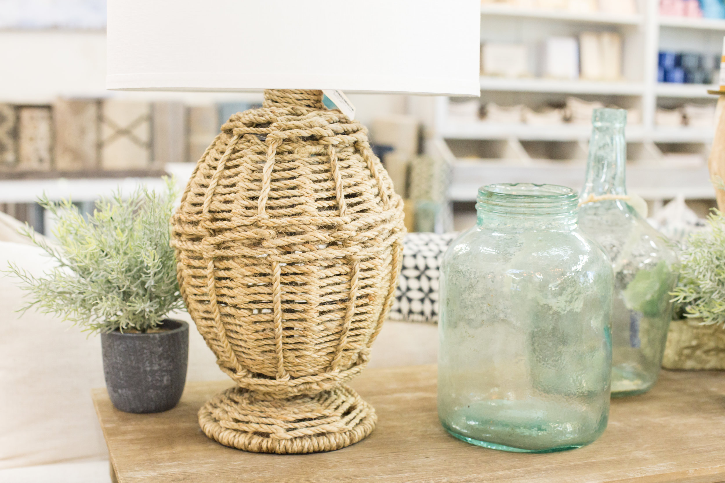 Seaglass jars, woven lamp