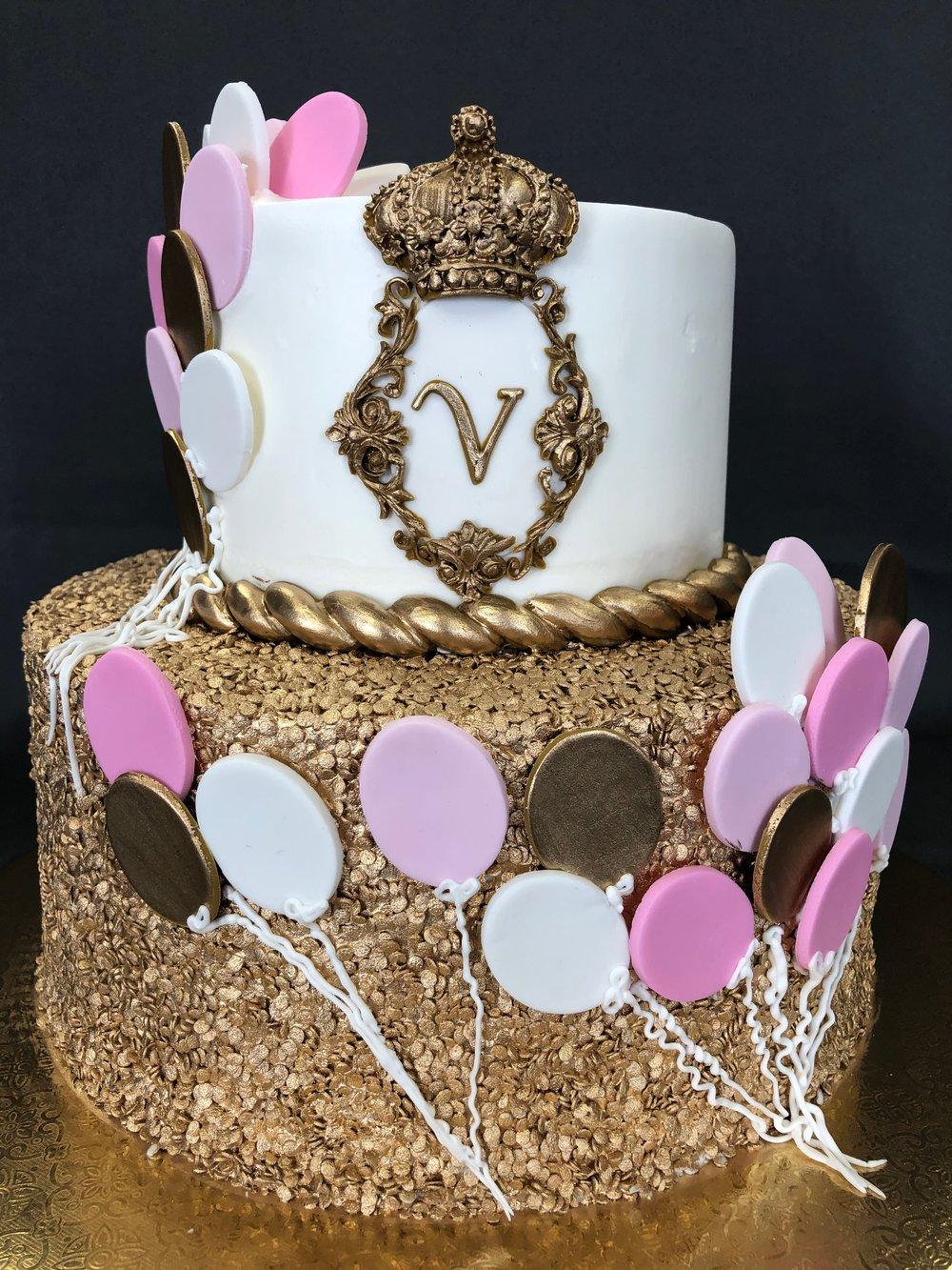 First Birthday Gold Sequin Cake NJ