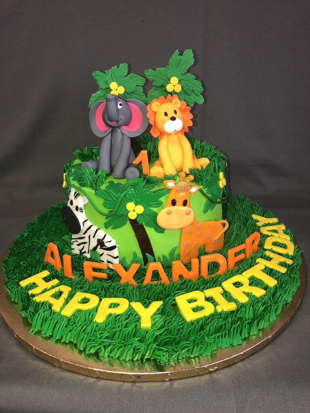 Jungle Animals 1st Birthday Cake NJ