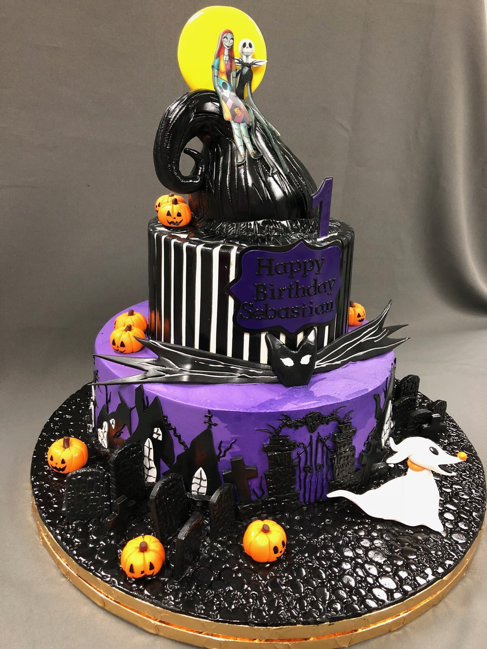 The Nightmare Before Christmas Theme 1st Birthday Cake NJ