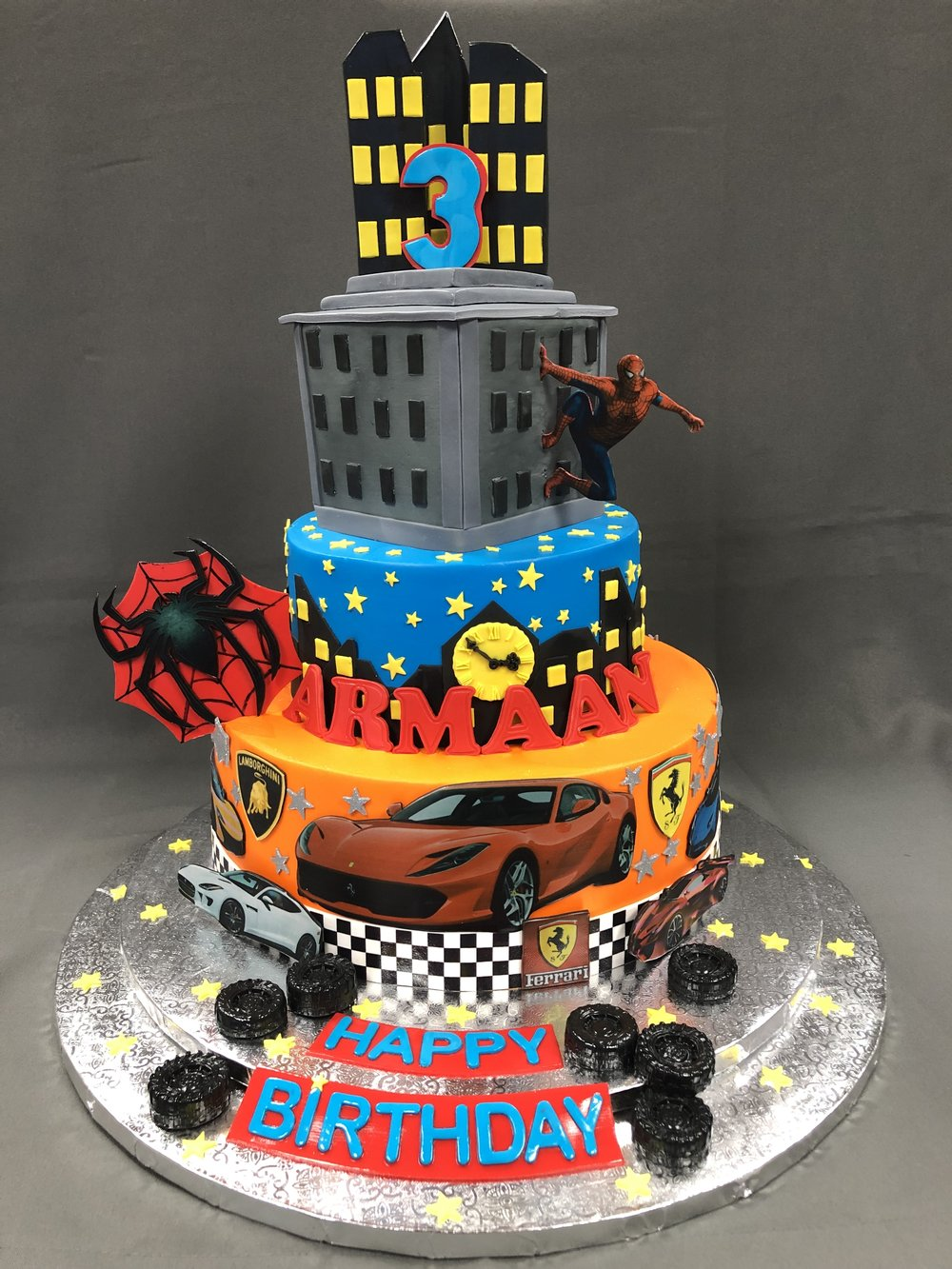 Spiderman And Cars Birthday Cake NJ