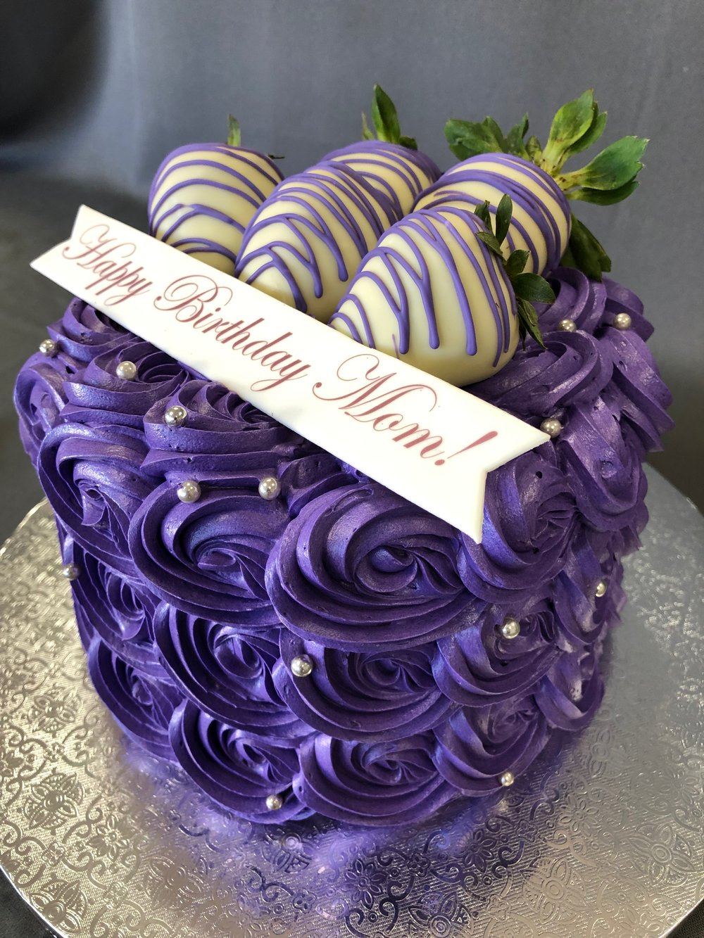 Purple Rosette Birthday Cake New Jersey