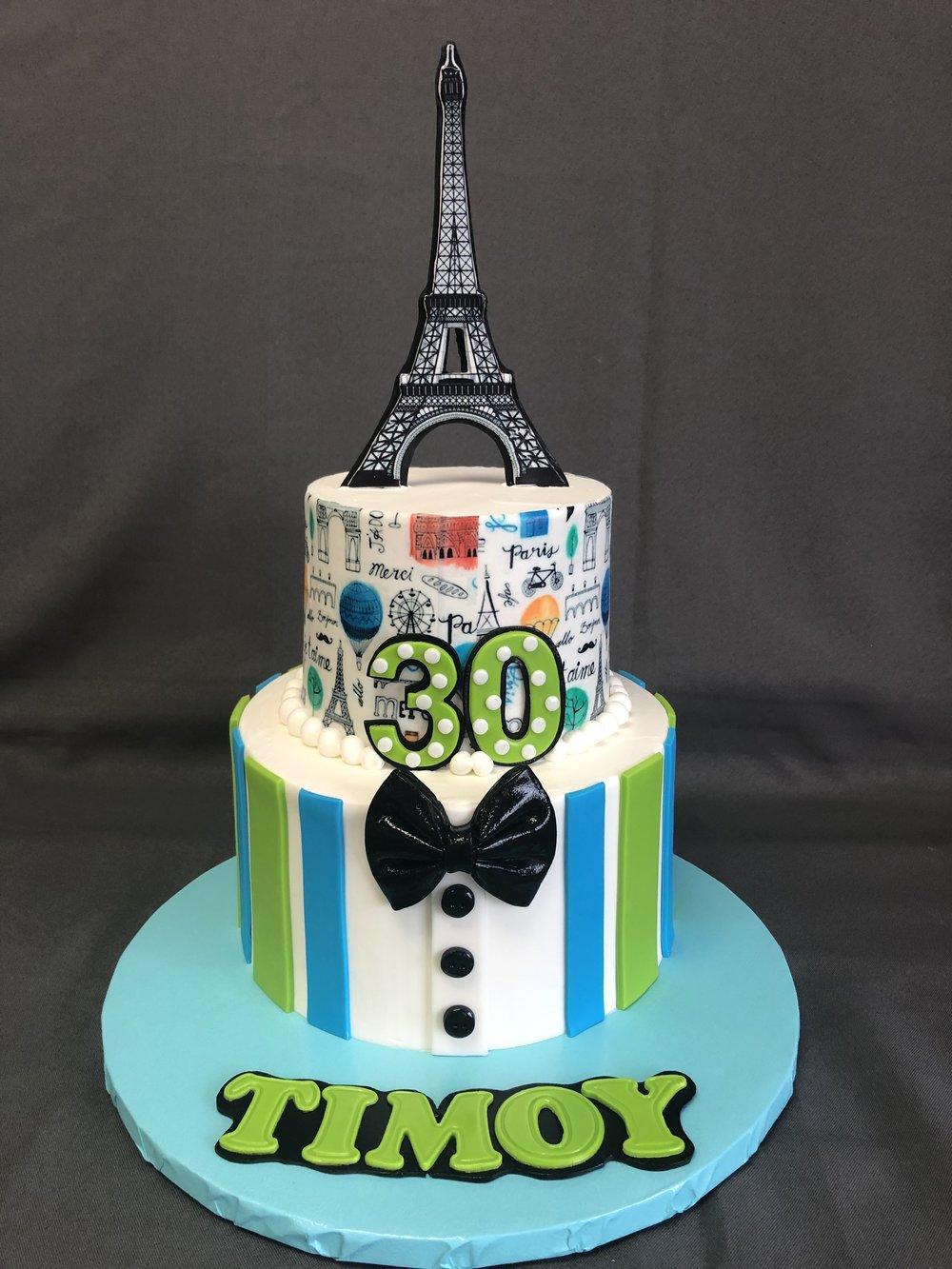 Paris Theme 30th Birthday Cake NJ