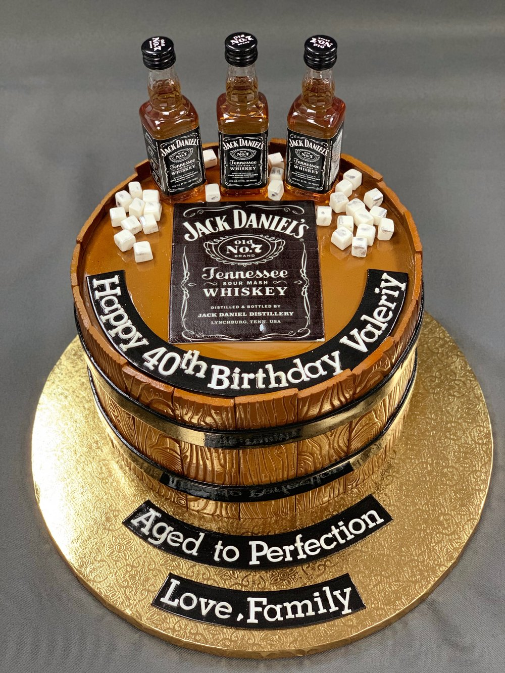 Whisky Barrel 40th Birthday Cake NJ