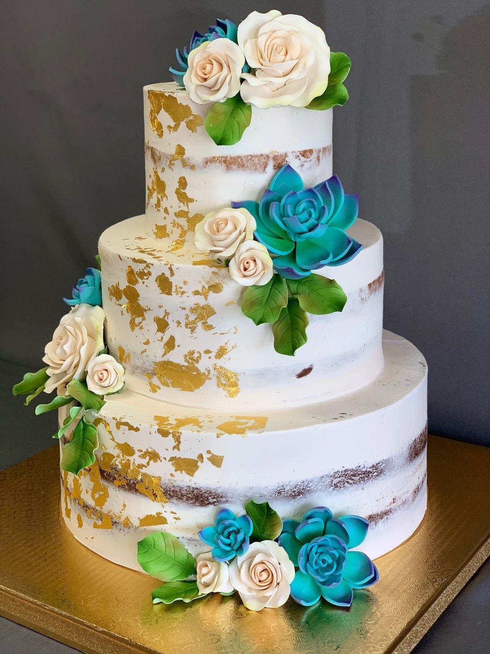 NJ Naked Three Tier Wedding Cake
