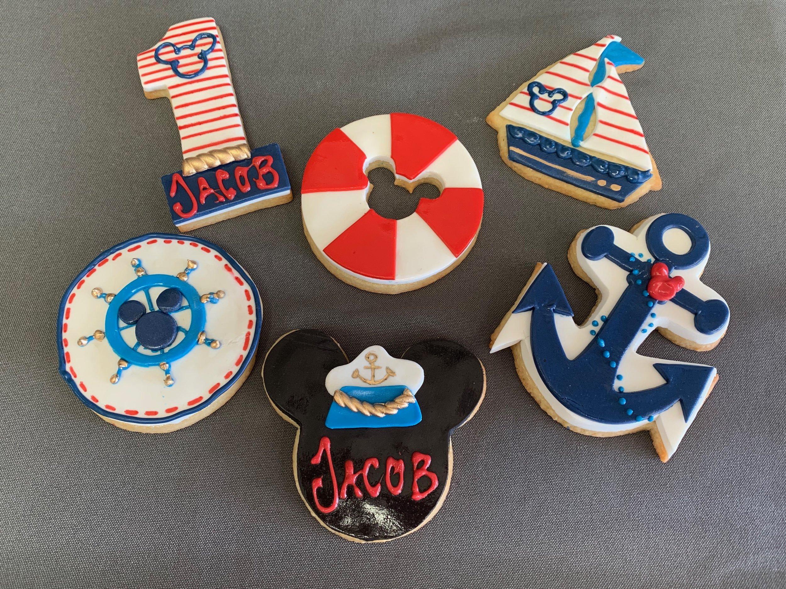 Nautical 1st Birthday Cookies