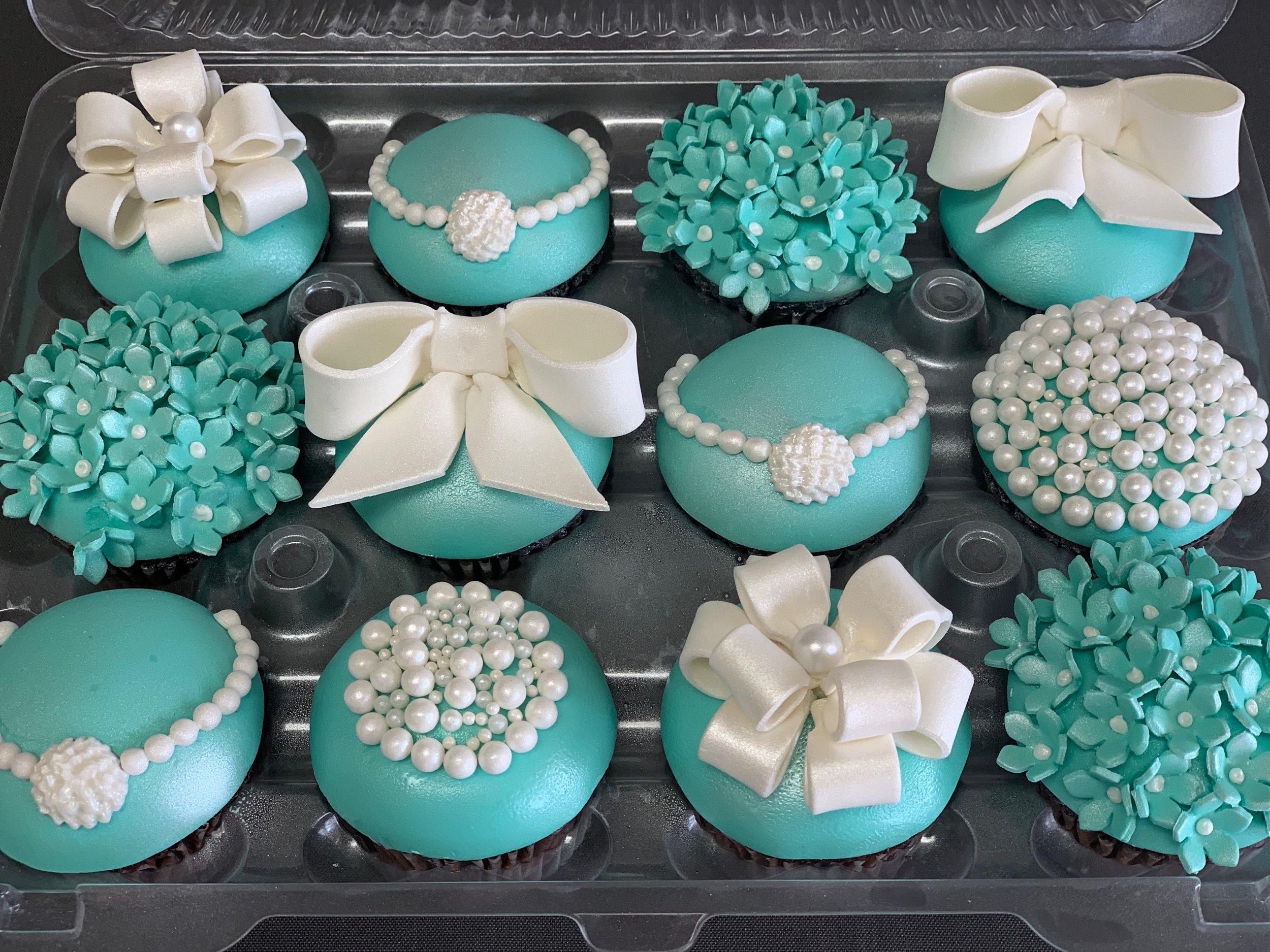 Tiffany Themed Bridal Shower Cupcakes