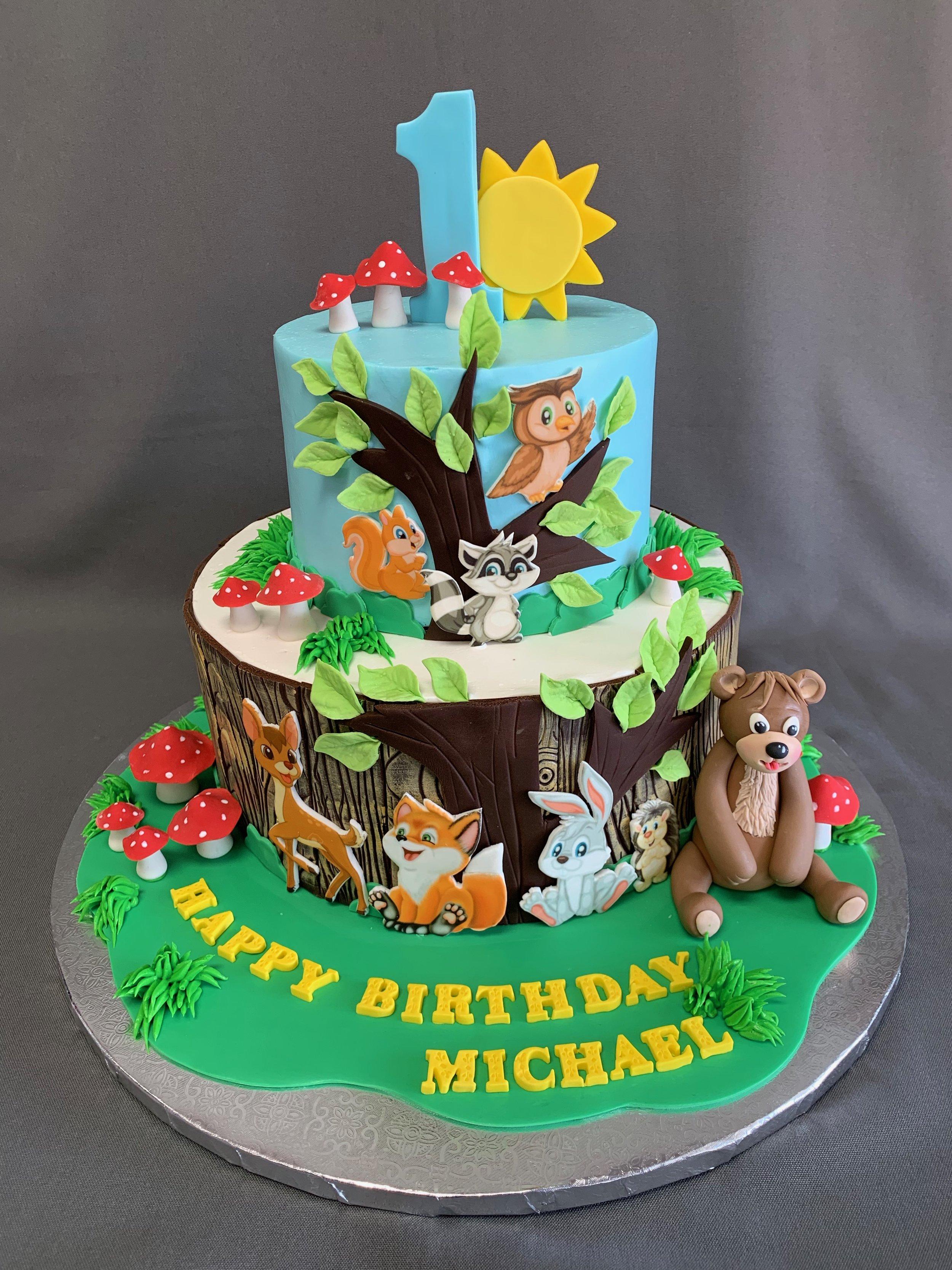 1st Birthday Forest Theme Birthday Cake