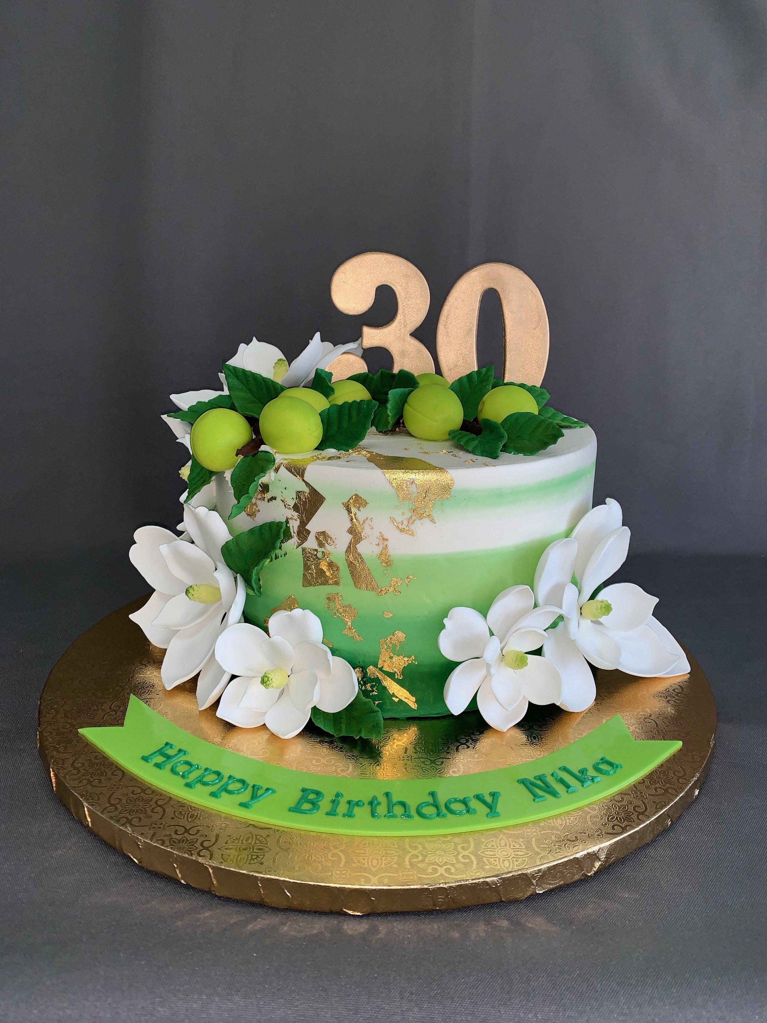 Green Ombre Birthday Cake