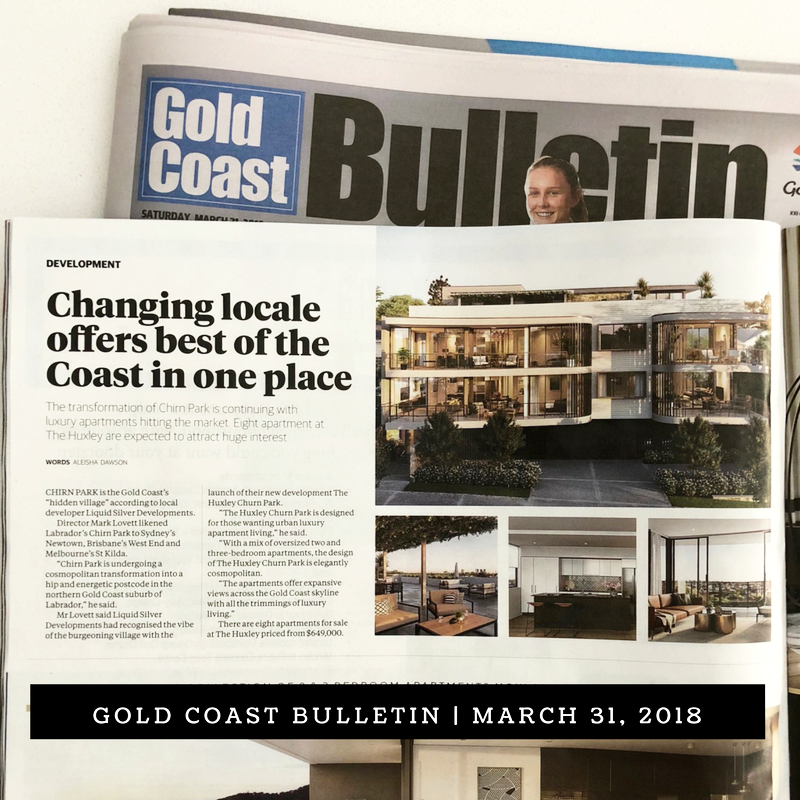 CHANGING LOCALE OFFERS BEST OF THE COAST IN ONE PLACE    Gold Coast Bulletin   Aleisha Dawson, April 1, 2018   The transformation of Chirn Park is continuing with luxury apartments hitting the market. Eight apartments at The Huxley are expected to attract huge interest.