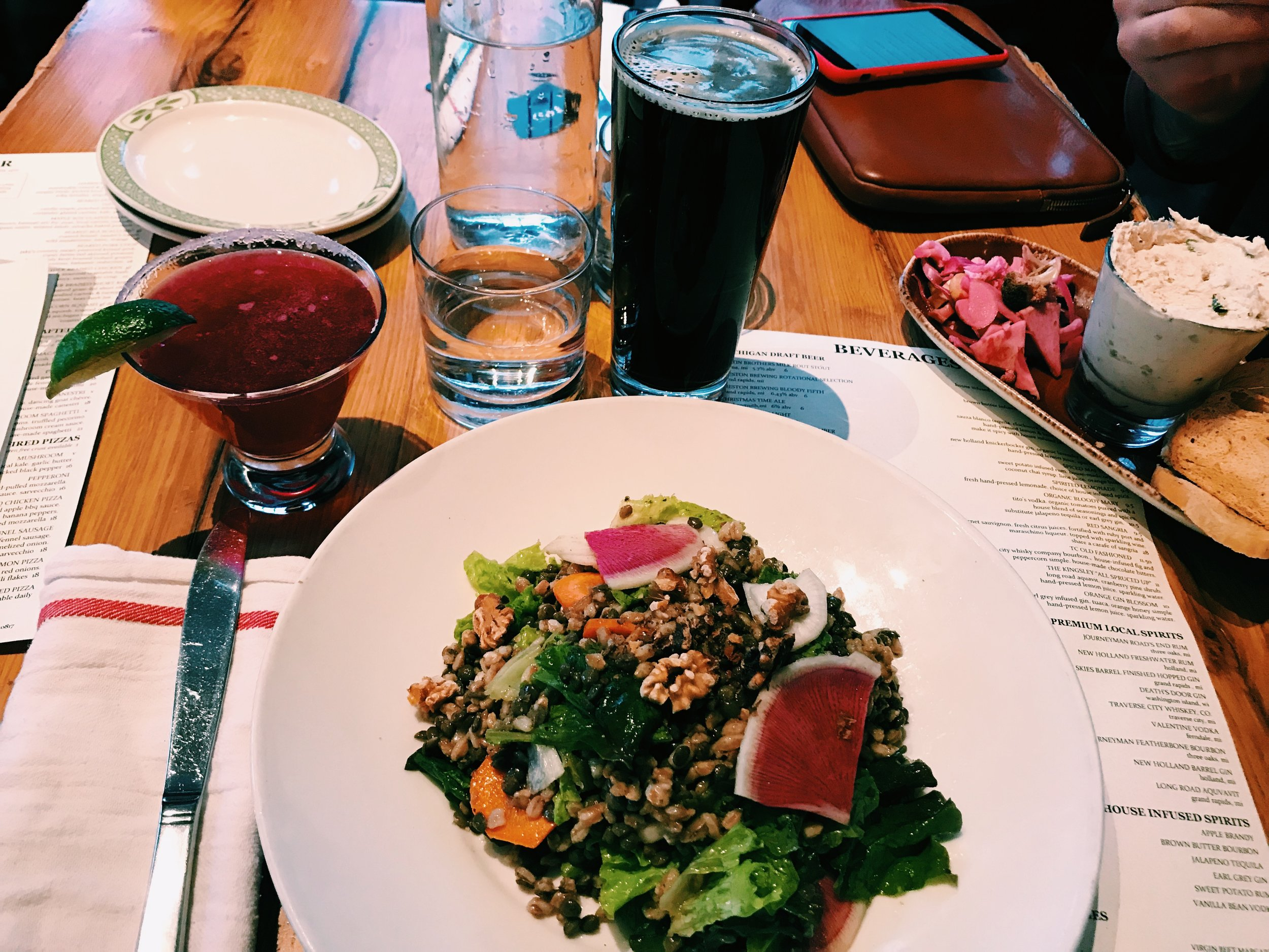 Top Left  Beet Margarita | Pictured with the Gazelle Salad (my FAV from Terra)