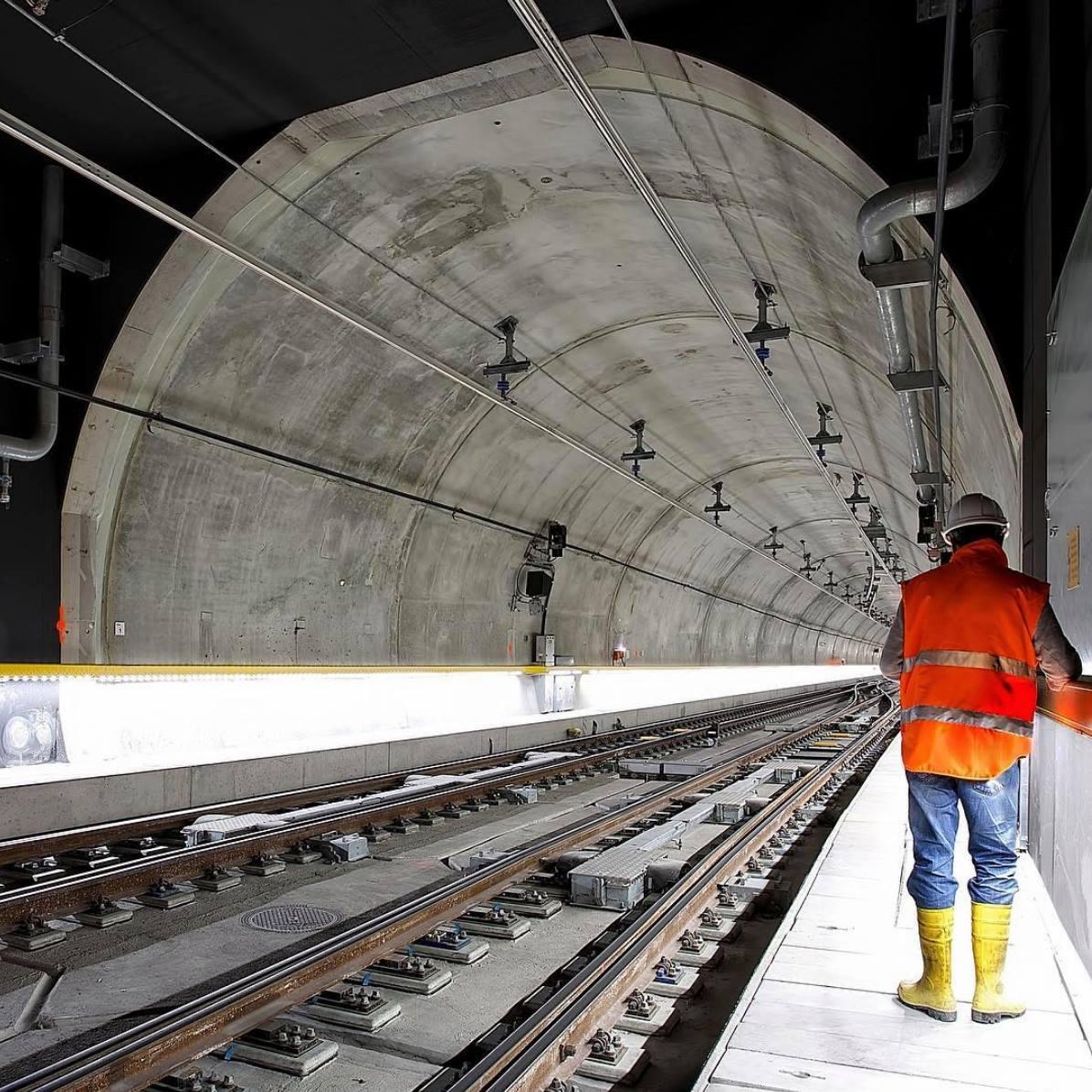 Man in Tunnel Wearing Safety Gear