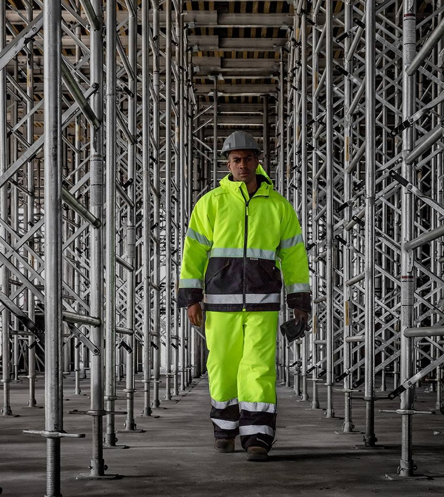 Man Wearing Reflective Safety Work Outfit