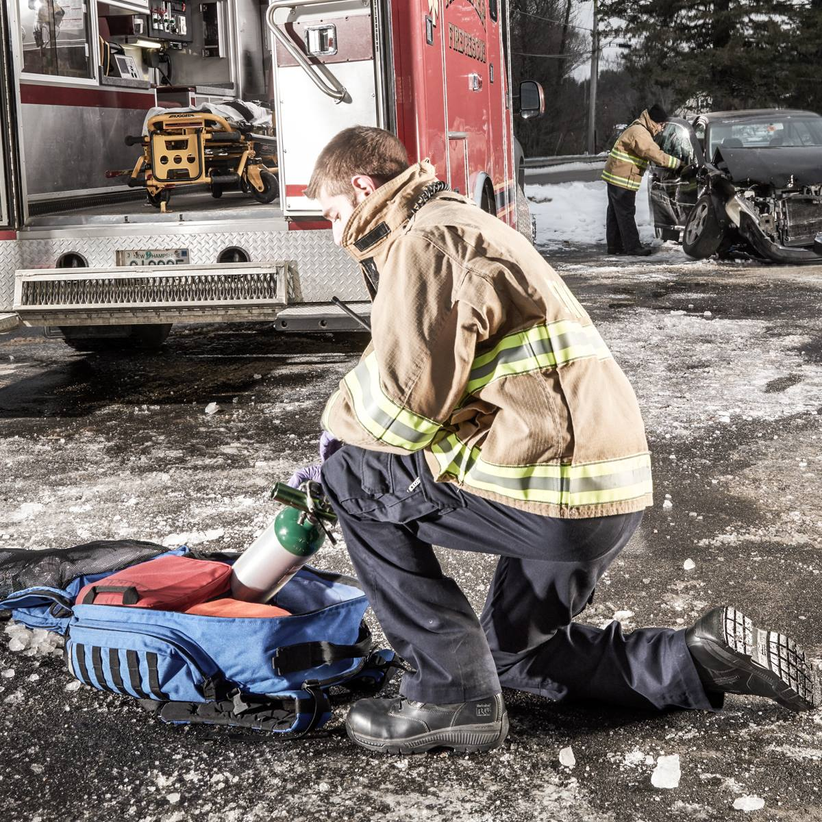 Firefighter Wearing Reflective Jacket