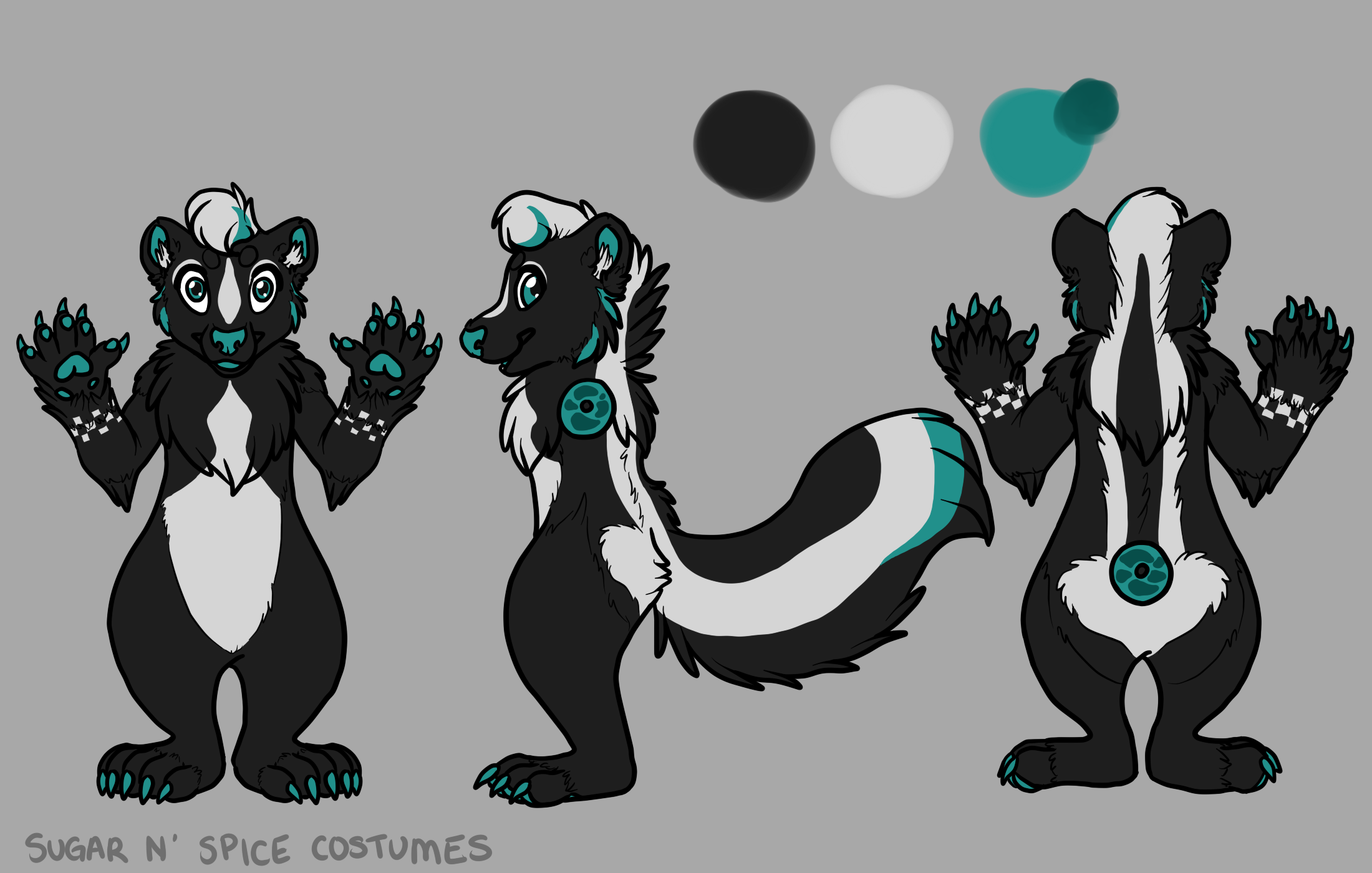 Ska skunk - $1900 Plantigrade Full suit$2100 Didgigrade Full suit. This suit will include a badge from Lilbobleat