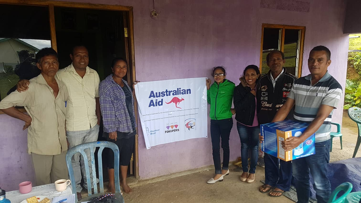 left to right: Manuel (FOKUPERS), Simao (Abundant Water), Rita (Abundant Water vendor), Imaculada (FOKUPERS), Azina (FOKUPERS), Alarico (member of Liquica business group) and Alfonso (Abundant Water vendor).