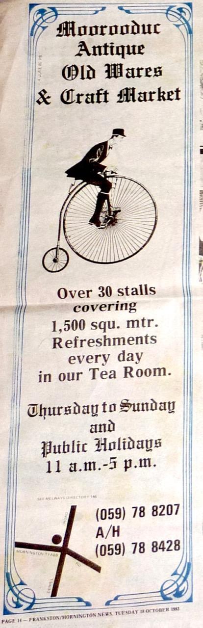 Advert featured in Frankston-Mornington News, Tuesday 18 October 1983 - pg.14
