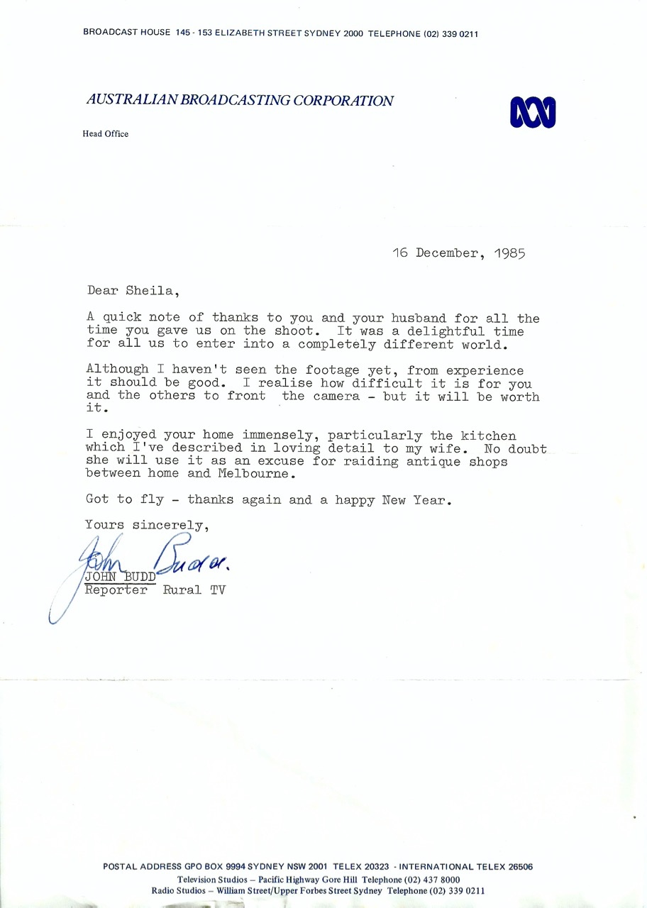 'A Big Country' letter 16 December 1985