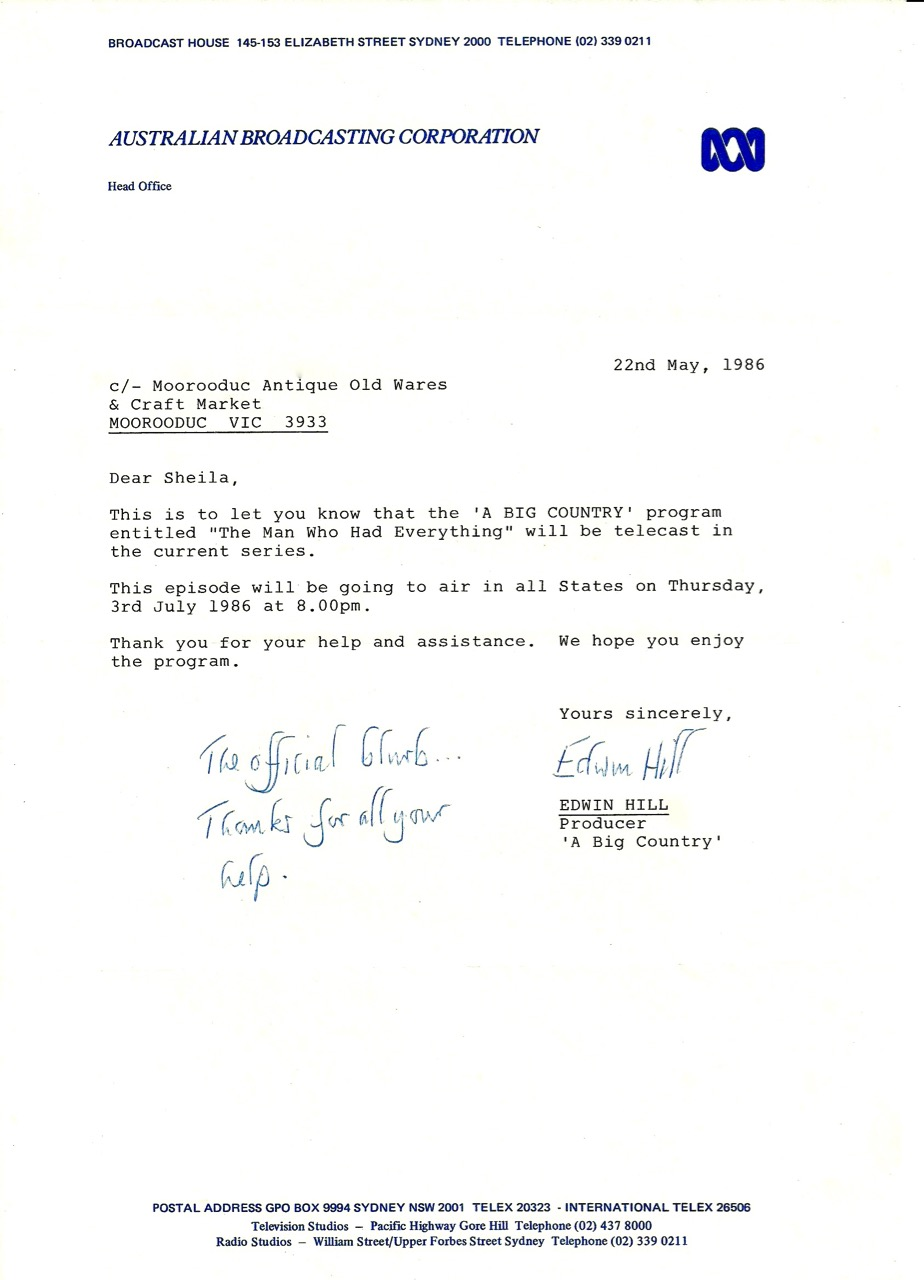 'A Big Country' letter 22nd May 1986