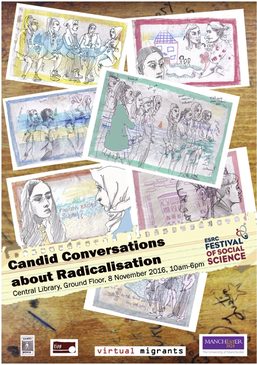 Candid Conversations About Radicalisation (2016) explored the impact of the Prevent Agenda on culture of an inner city secondary school.