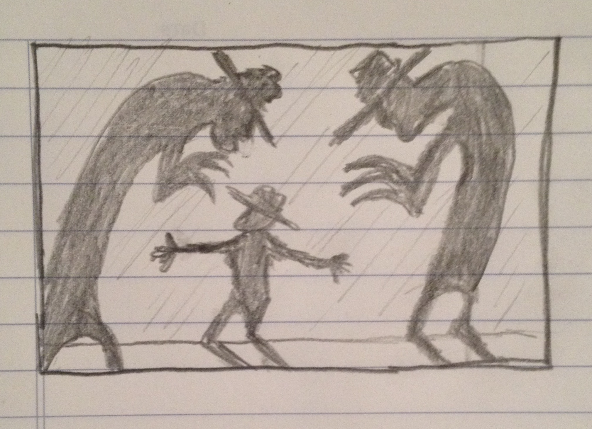 Early sketch from storyboard of Visions short.