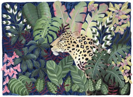 Leopard in Leaves, copyright Bex Parkin 2018